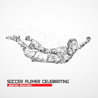 Soccer player happy after victory goalkeeper on a white background.  illustration.