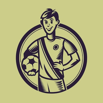Soccer player holding ball. concept art of football in monochrome style.