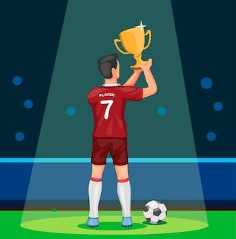 トロフィーを獲得した漫画イラストのチャンピオンのお祝いを保持しているサッカー選手