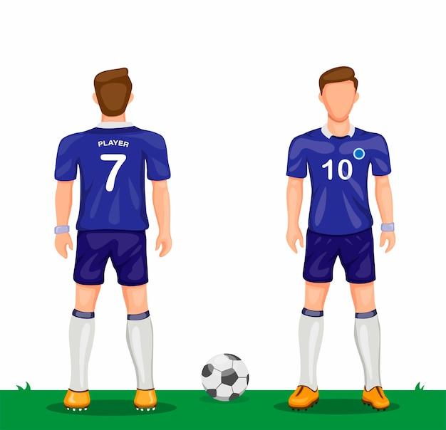 漫画イラストのリアとフロントビュースポーツサッカージャージーコンセプトから設定された青い制服シンボルアイコンのサッカー選手