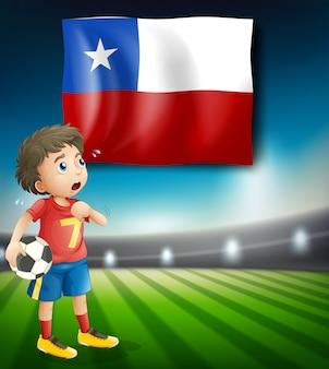 チリの国旗のインフォメーションのサッカー選手