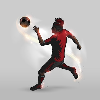 Soccer player is shooting