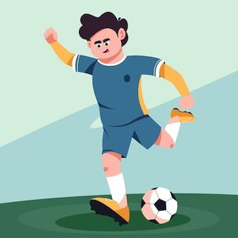 サッカー選手がボールを蹴る