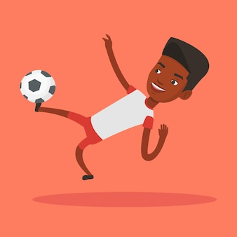 Soccer player kicking ball vector illustration.