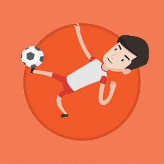 Футболист ногами мяч векторные иллюстрации.