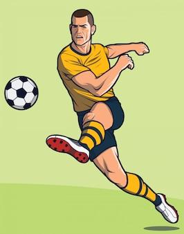 Soccer player kicks ball/ football player kicks ball