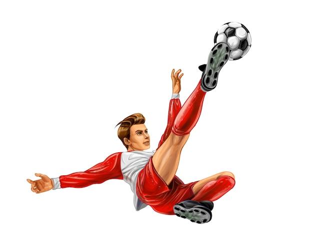 Футболист бьет по мячу. реалистичные векторные иллюстрации красок