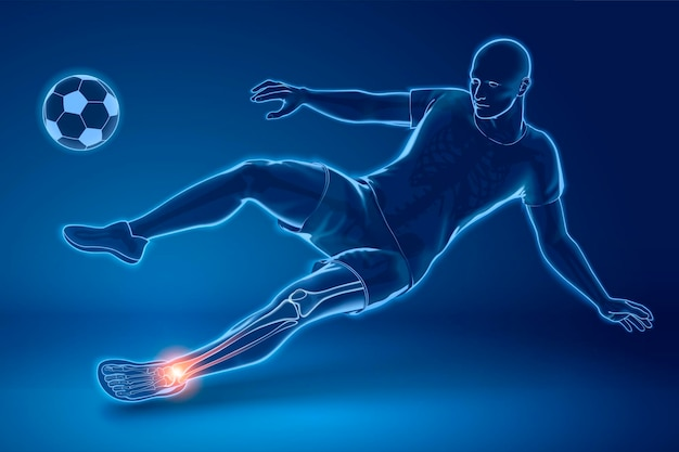 A soccer player performing sidekick with his ankle injured, x-ray effect in 3d style