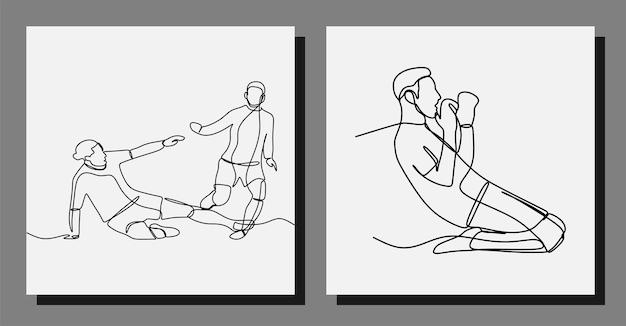 サッカー選手はサッカーのワンラインアートベクトルイラストを再生します