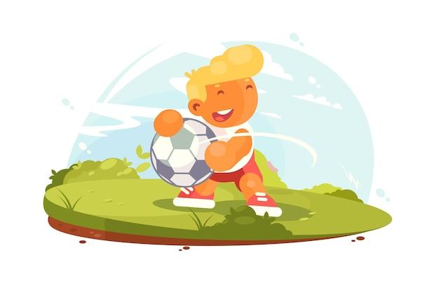 Футболист играет на поле. улыбающийся маленький мальчик с футбольным мячом играет в футбол