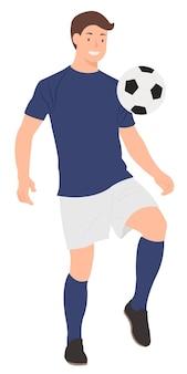 Футболист играет с футбольным мячом