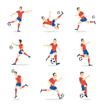 Soccer player set with ball on white.