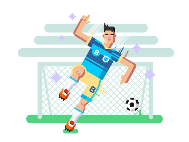 Soccer player. sport football, team game, goal and competition, character man play. flat vector illustration