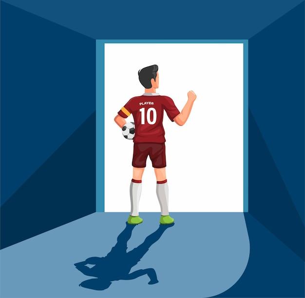Футболист, стоящий у входной двери стадиона, готов к игре