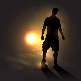 Soccer player at sunset