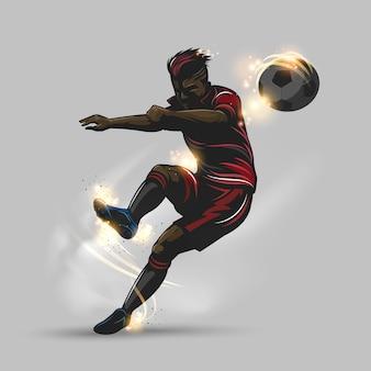 Soccer player takes a free kick