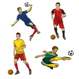 Soccer player vector set