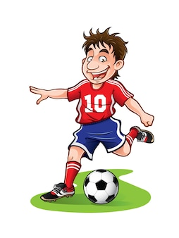 Soccer player was going to kick the ball with a cheerful