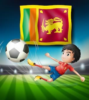 Футболист с флагом уэльса