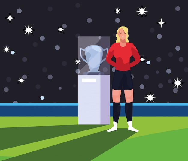 Soccer player woman in stadium with trophy