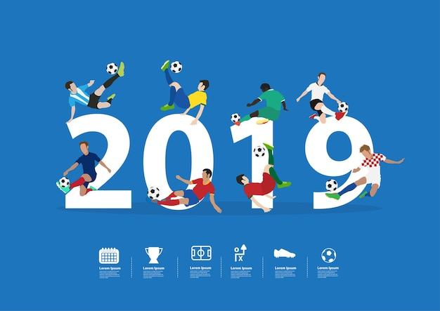 Soccer players in action on 2019 new year