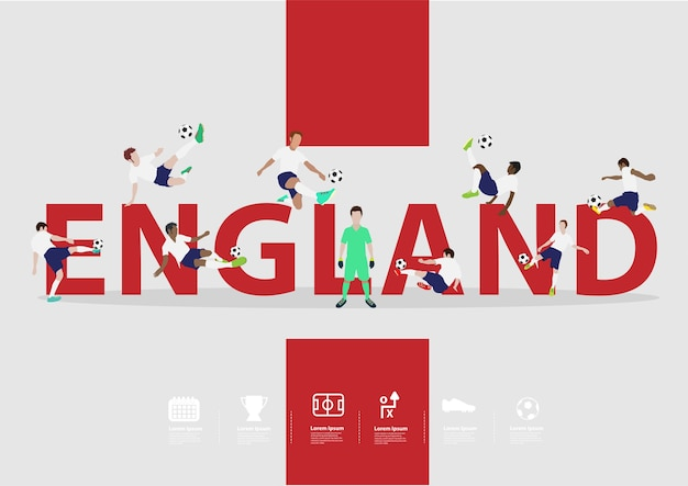Soccer players in action on england text