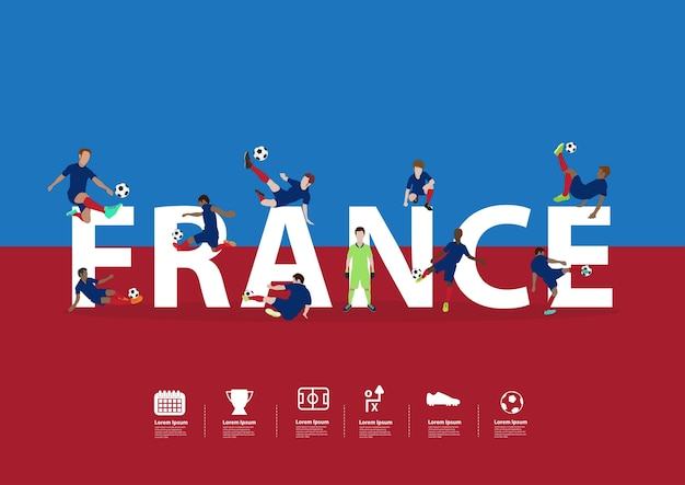 Soccer players in action on france text