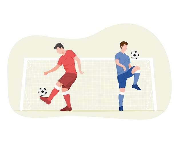 축구 선수는 그림을 훈련하고 있습니다.