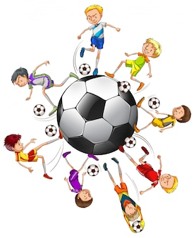 Soccer players around a ball