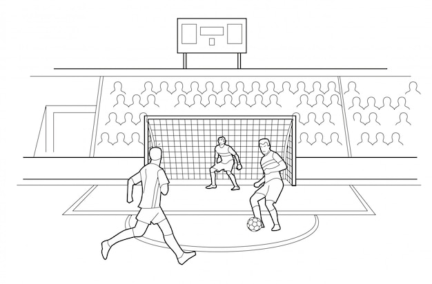 Soccer players defending the gates. spectators sit in the stands of the stadium. black illustration on white background