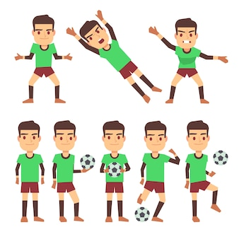 Soccer players set vector illustration isolated white
