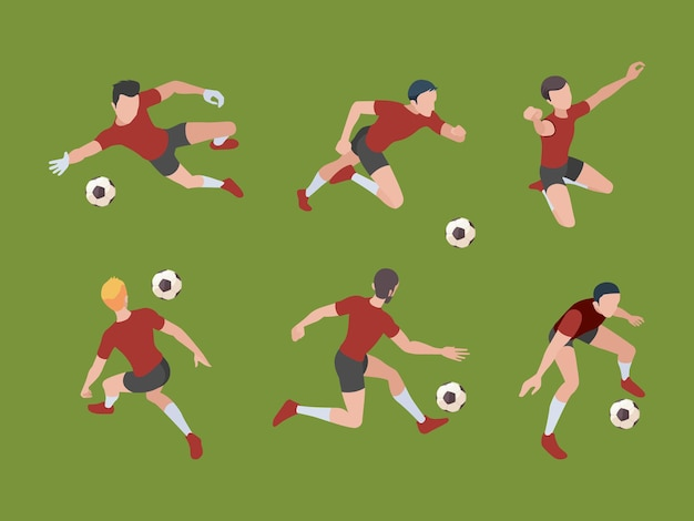 Soccer players. sport characters football gamers in active poses goalkeeper isometric adults 3d people.