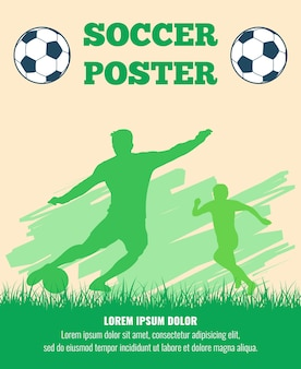 Soccer players vector poster template.