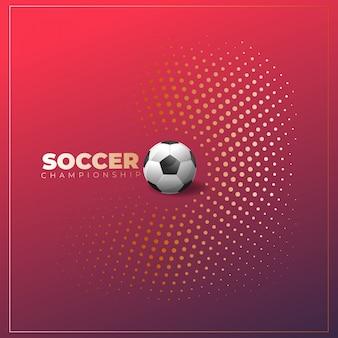 ボールとハーフトーンの背景にサッカーポスター Premiumベクター
