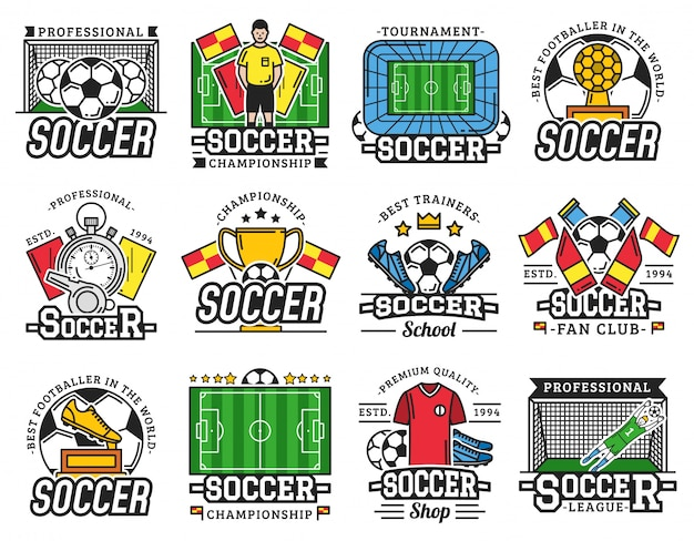 Soccer professional sport league fan club icons
