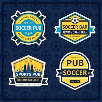 Soccer pub badge on blue