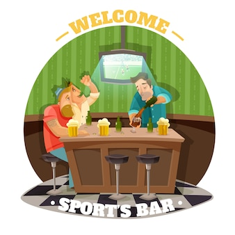 Soccer pub illustration