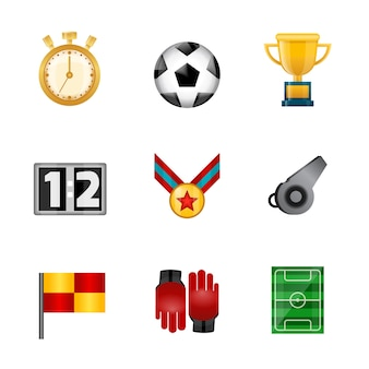 Soccer realistic icons