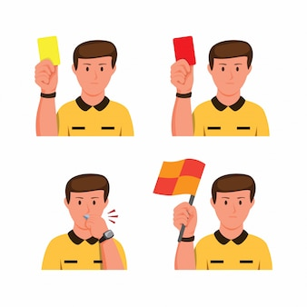 Soccer referee gesture collection icon set in cartoon flat illustration