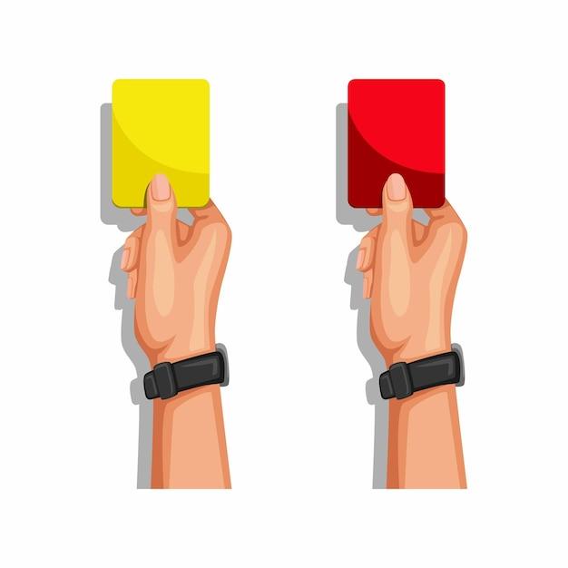 노란색과 빨간색 카드를 보여주는 축구 심판 손