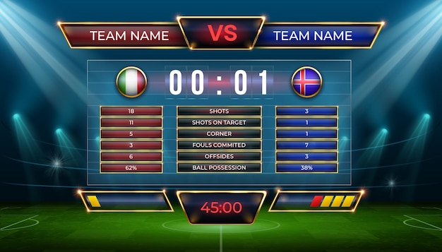 Soccer scoreboard. football match score and goal statistic table. realistic stadium grass field with vector display screen for game results. shots on target, corner, fouls committed, offsides
