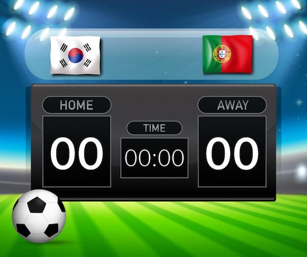 サッカースコアボード南韓国とポルトガル
