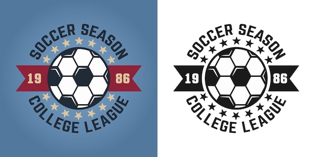 Soccer season vector two styles emblem, badge, label or logo for college team isolated on colored and white background