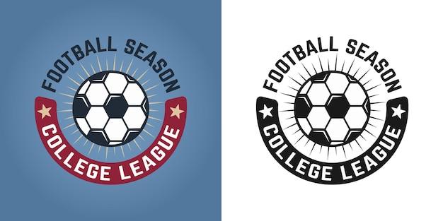 컬러 및 흰색 배경에 두 가지 스타일 벡터 엠블럼, 배지, 레이블 또는 로고의 축구 세트