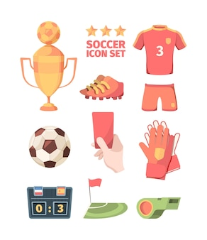 Soccer set. winners gold cup with ball hand holds red card shirt shorts of football club player goalkeeper gloves electronic scoreboard green referees whistle and flag corner zone.