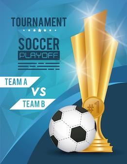 Футбольный спортивный воздушный шар и трофей Premium векторы