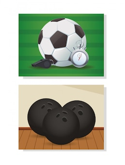 審判の笛とボウリングボールのサッカースポーツバルーン