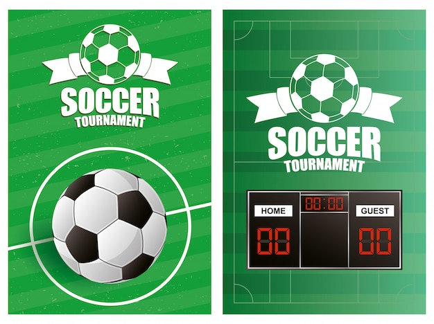 Soccer sport emblem poster with balloon and scoreboard