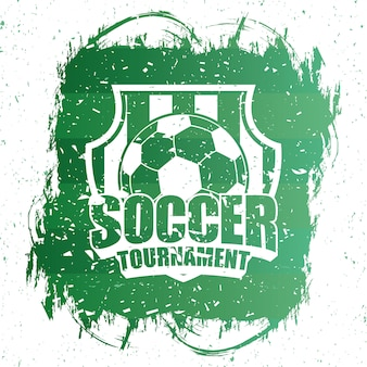 Soccer sport green poster with balloon emblem