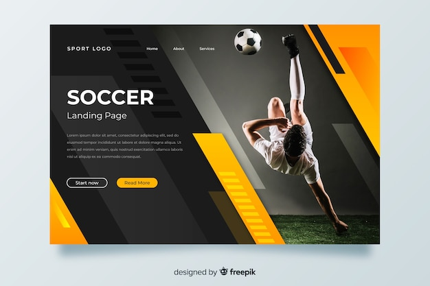 Soccer sport landing page with photo